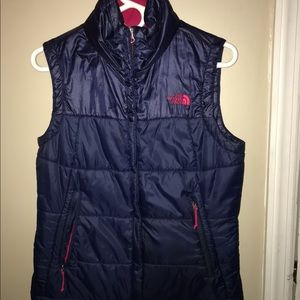 Navy Blue North Face puffed vest